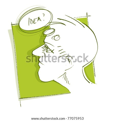 thoughtful man (head icon) - got an idea, freehand drawing, vector - stock vector