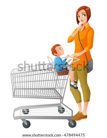Thoughtful young mother with little boy sitting in shopping cart. Cartoon vector illustration isolated on white background.