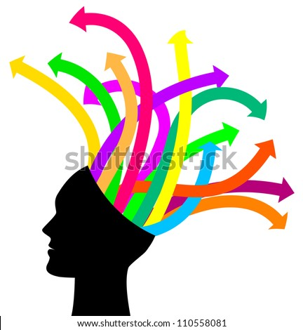 Thoughts and options - vector illustration of head with arrows - stock vector
