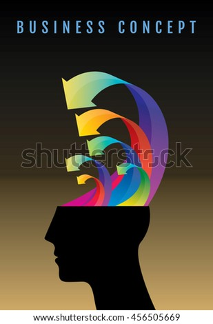 Thoughts and options. vector illustration of head with arrows. - stock vector