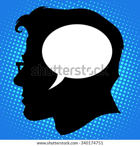 Thoughts in the head of the business concept pop art retro style - stock vector