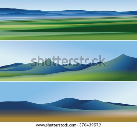 Three abstract banners with mountains  - stock vector
