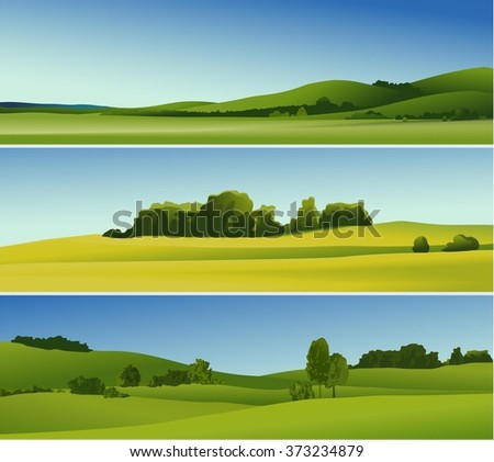 Three abstract banners with rural landscape