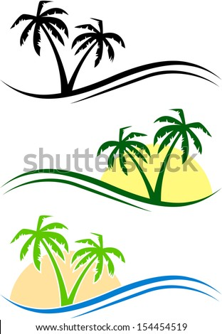 Three abstract palms with waves and sun. eps10 - stock vector
