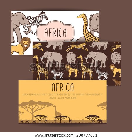 Three African banners with cute animals - stock vector