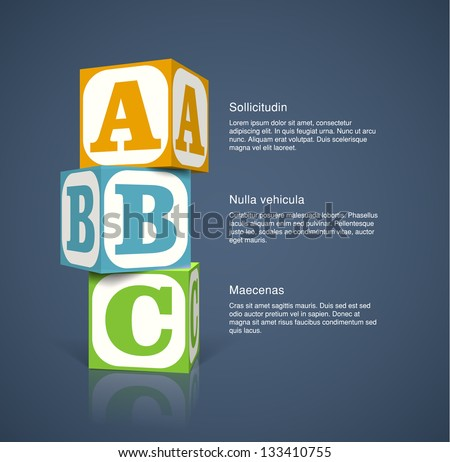 Three alphabet cubes with letters. EPS10 vector background. - stock vector