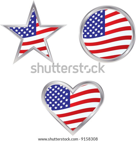 Three American Flag Icons - perfect for election season or any other patriotic occasion or holiday - stock vector