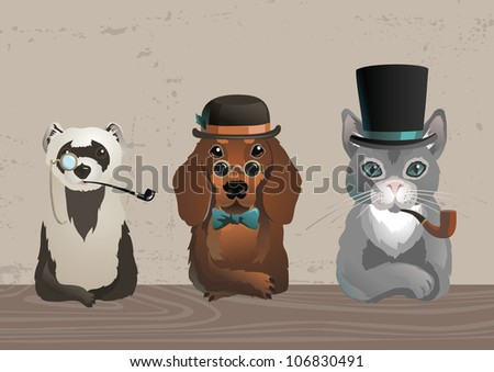 Three animals in old style costumes