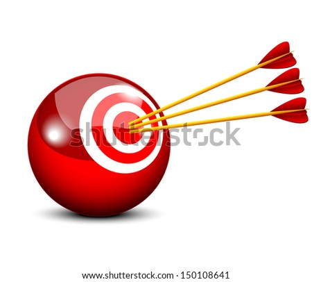 Three arrow hits the target in a ball - symbolizing targeted marketing - stock vector