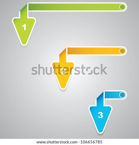 Three arrow style paper tag.Vector