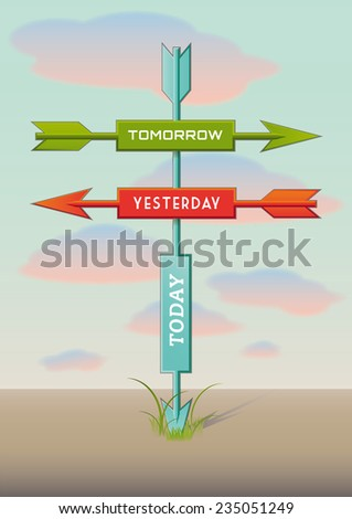 Three arrows showing three directions in time - stock vector
