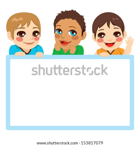 Three baby boys of different ethnicities with a blue frame white billboard - stock vector
