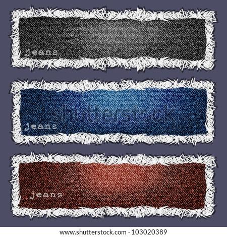 Three banners of denim texture. Vector eps10 - stock vector