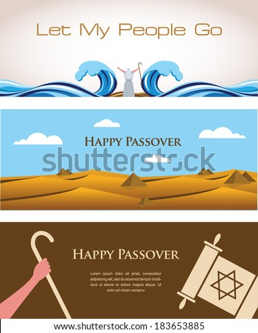 Three Banners of Passover Jewish Holiday - stock vector