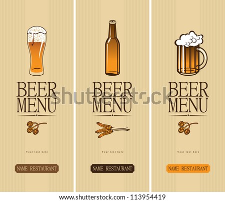 three banners on the theme of the beer with a glass and a bottle - stock vector