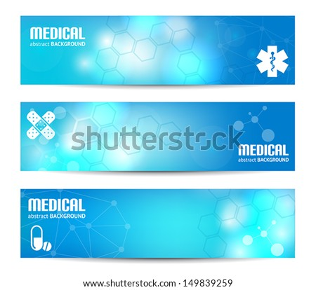 Three banners suitable for medical topics - stock vector
