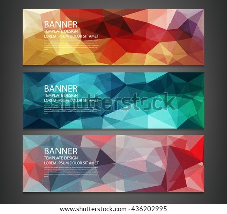Three banners with abstract multicolored polygonal mosaic background. Modern geometric triangular pattern. Business design template. Website header template. Vector illustration - stock vector