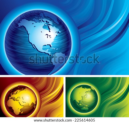 Three banners with brushed metal globes on abstract backgrounds. Eps8. CMYK. Organized by layers. Global colors. Gradients used. - stock vector