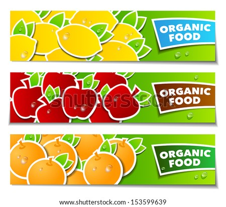 Three banners with fruits symbolizing healthy lifestyle. Can be used both for web or print.
