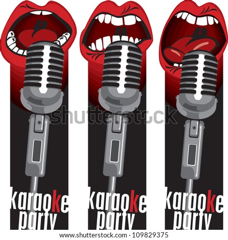 three banners with singing into a microphone mouths - stock vector