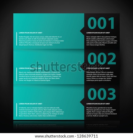 Three banners with text and numbers. Useful for tutorials or advertising. - stock vector
