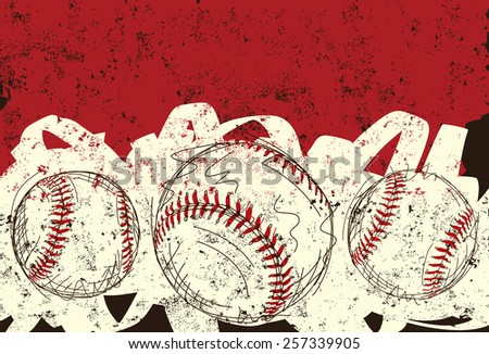 Three baseballs. Sketchy, hand drawn baseballs over an abstract background.