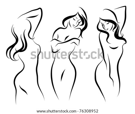 Three beautiful vector woman - stock vector