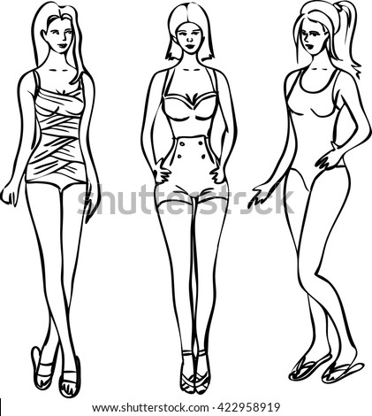 Three beautiful women posing in vintage swimsuits, summer fashion sketch, vector isolated eps 10 illustration - stock vector