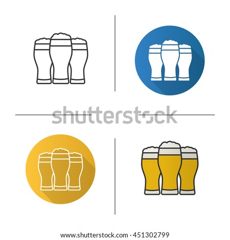 Three beer glasses icon. Flat design, linear and color styles. Foamy light beer glasses. Isolated vector illustrations