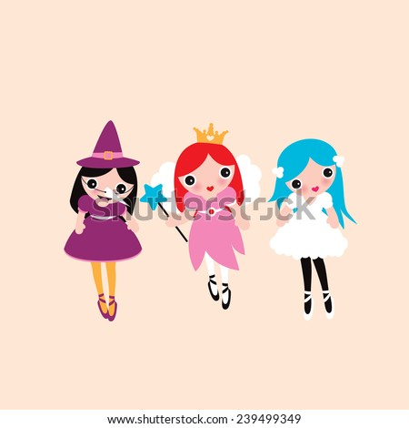 Three best friends dressed up in princess witch and little cute fairy costumes adorable girls illustration print in vector - stock vector