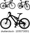 three bicycles silhouette - stock vector