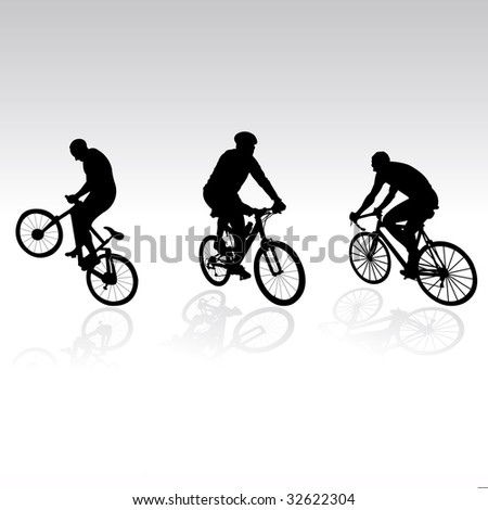 three bicyclists on gradiented background, vector illustration