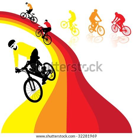 three bicyclists riding the rainbow, vector illustration - stock vector