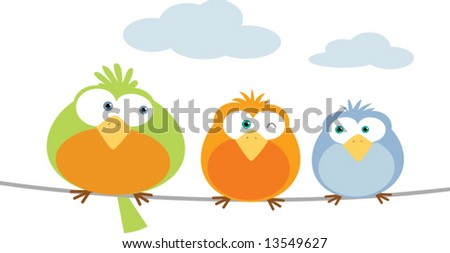 Three bird on Wire - stock vector