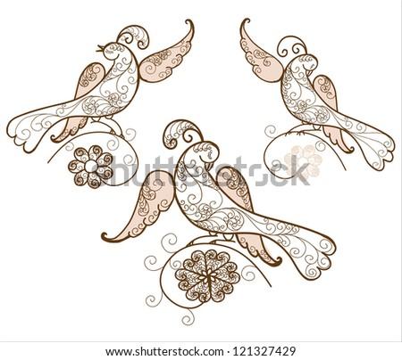 Three bird ornament vector - stock vector