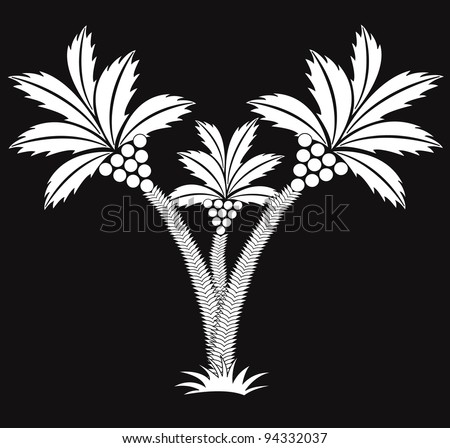 three black and white palms.vector - stock vector