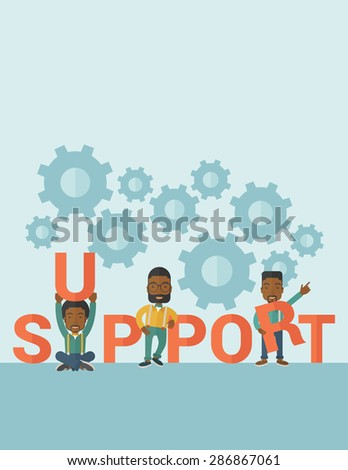 Three Black businessmen holding a letter, it is a support message they need help from others. Teamwork concept. A contemporary style with pastel palette soft blue tinted background. Vector flat design - stock vector