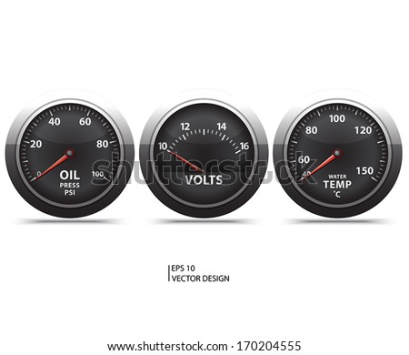 three black gage on white background. - stock vector