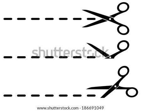three black scissors and cut lines set on white background - stock vector