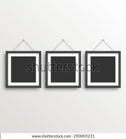 three black simple modern blank frames on grayscale background