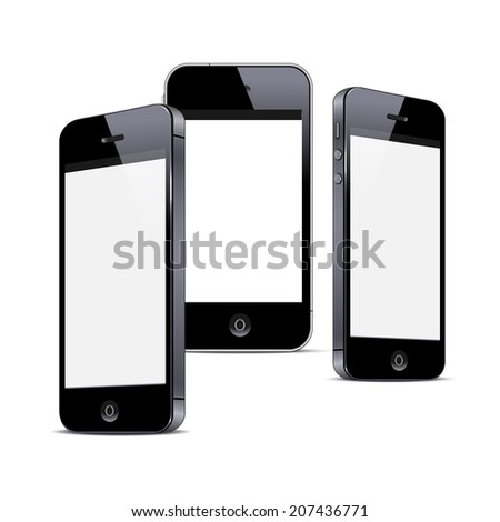 Three black smartphones isolated on white background. Vector EPS10 - stock vector