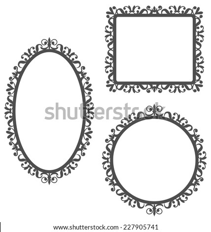 Three black vintage frames in different shapes isolated on white background - stock vector
