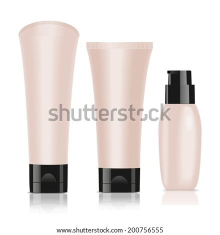 Three blank cosmetic containers. Foundation cream. White isolated. Vector - stock vector