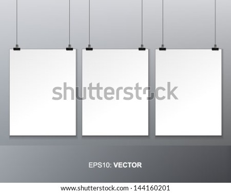 three blank paper on white wall - stock vector