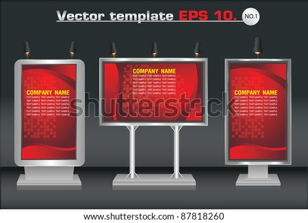 Three blank vertical billboards and lamp. with identity background ready for use. Vector template for design work - stock vector