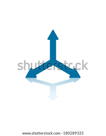 Three Blue Arrows Splitting From Center Illustration - stock vector