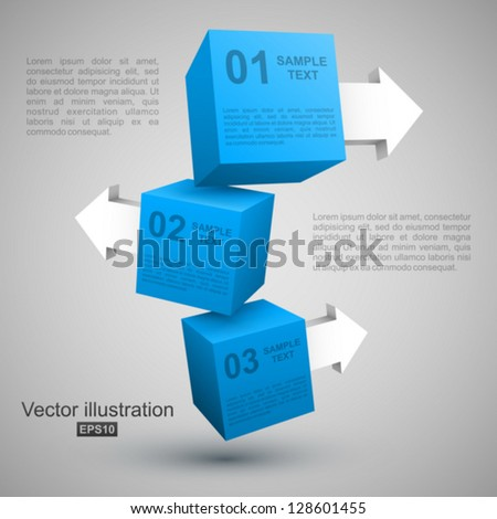 Three blue boxes with arrows 3D. - stock vector