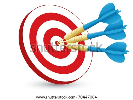 Three blue darts hitting the center of the target