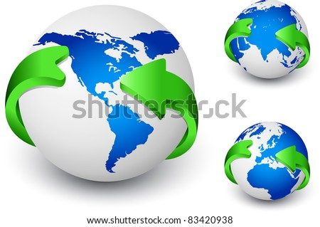 Three Blue Earth globes with green arrows around - stock vector