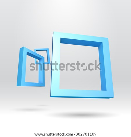 Three blue rectangular 3D frames for your presentation - stock vector